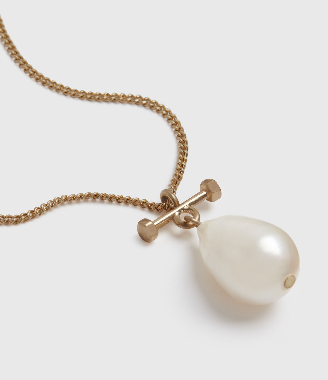 AllSaints Women's Brass Pearldrop Fresh Water Pearl Necklace, Gold-Tone