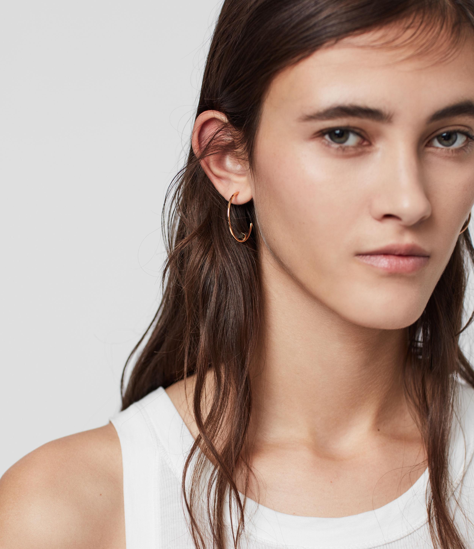 AllSaints Women's Brass Serena Tone Semi-Precious Pyrite Hoop Earrings, Gold