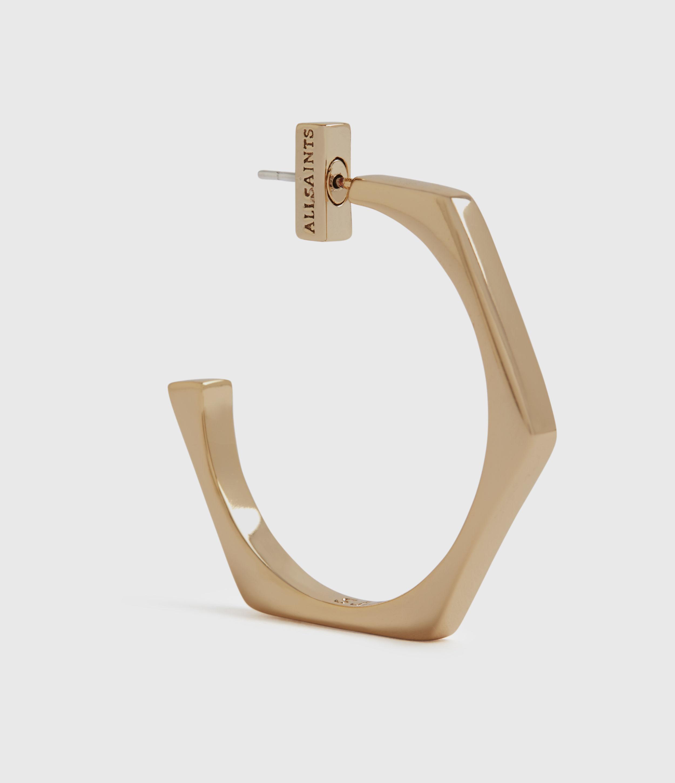 AllSaints Hexpen Gold-Tone Hoop Earrings