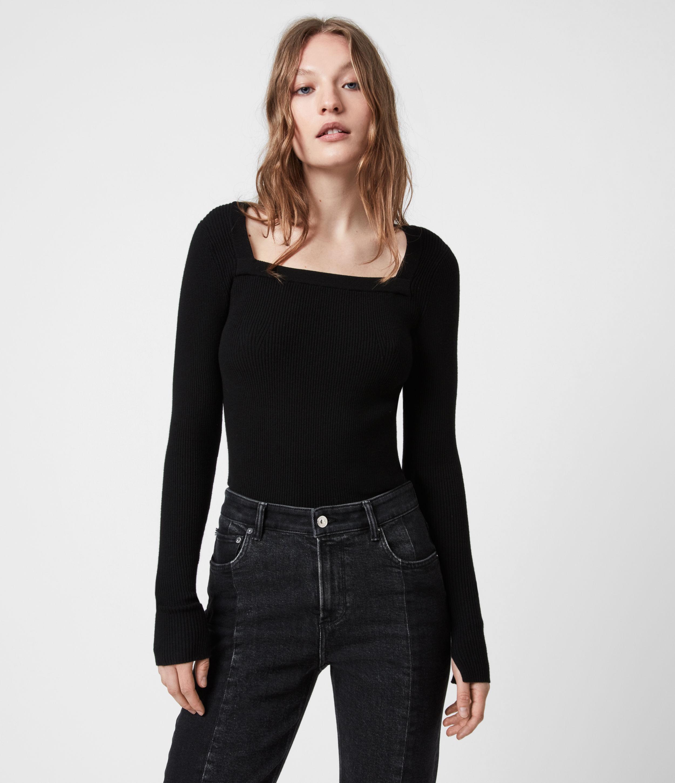 AllSaints Womens Bardi Rib Top, Black, Size: S