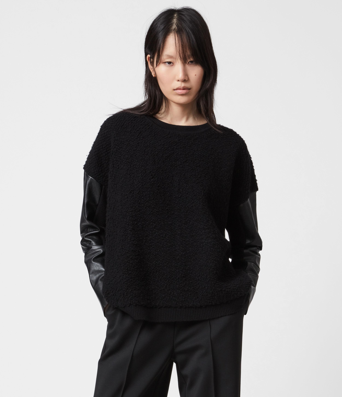 AllSaints Womens Lupa Jumper, Black, Size: XS