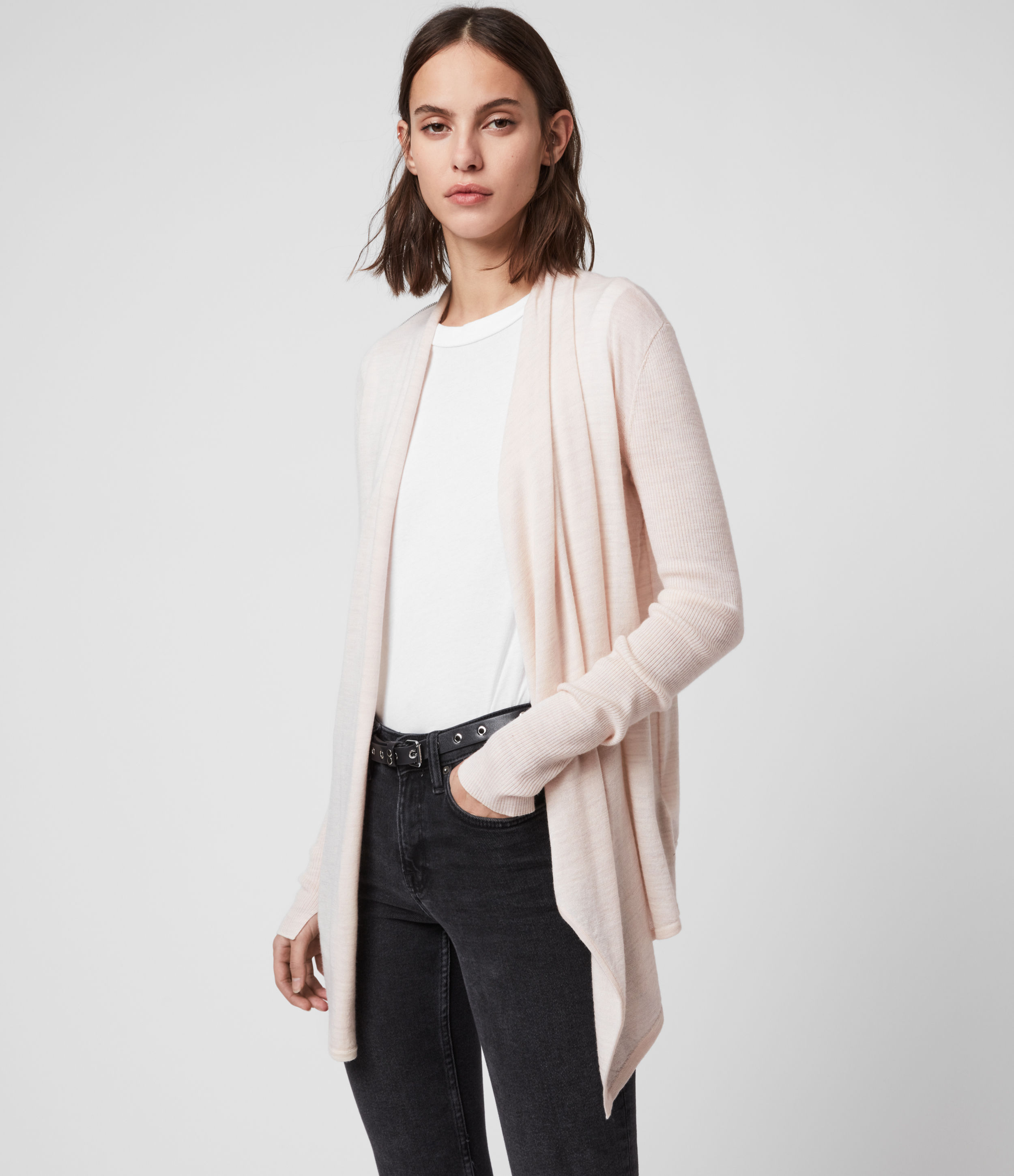 AllSaints Women's Wool Drina Ribbed Cardigan, Pink, Size: XS