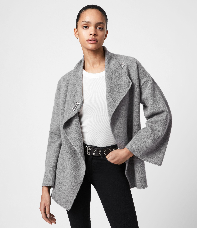 AllSaints Women's Merino Wool Relaxed Fit Nola Cardigan, Grey, Size: S