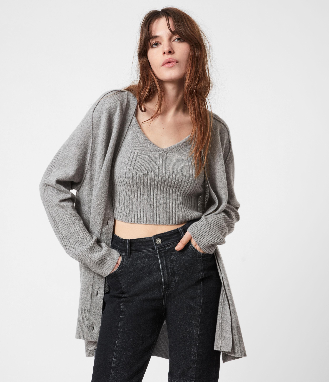 AllSaints Womens Ivana Cashmere Blend Cardigan, Pale Grey Marl, Size: XS