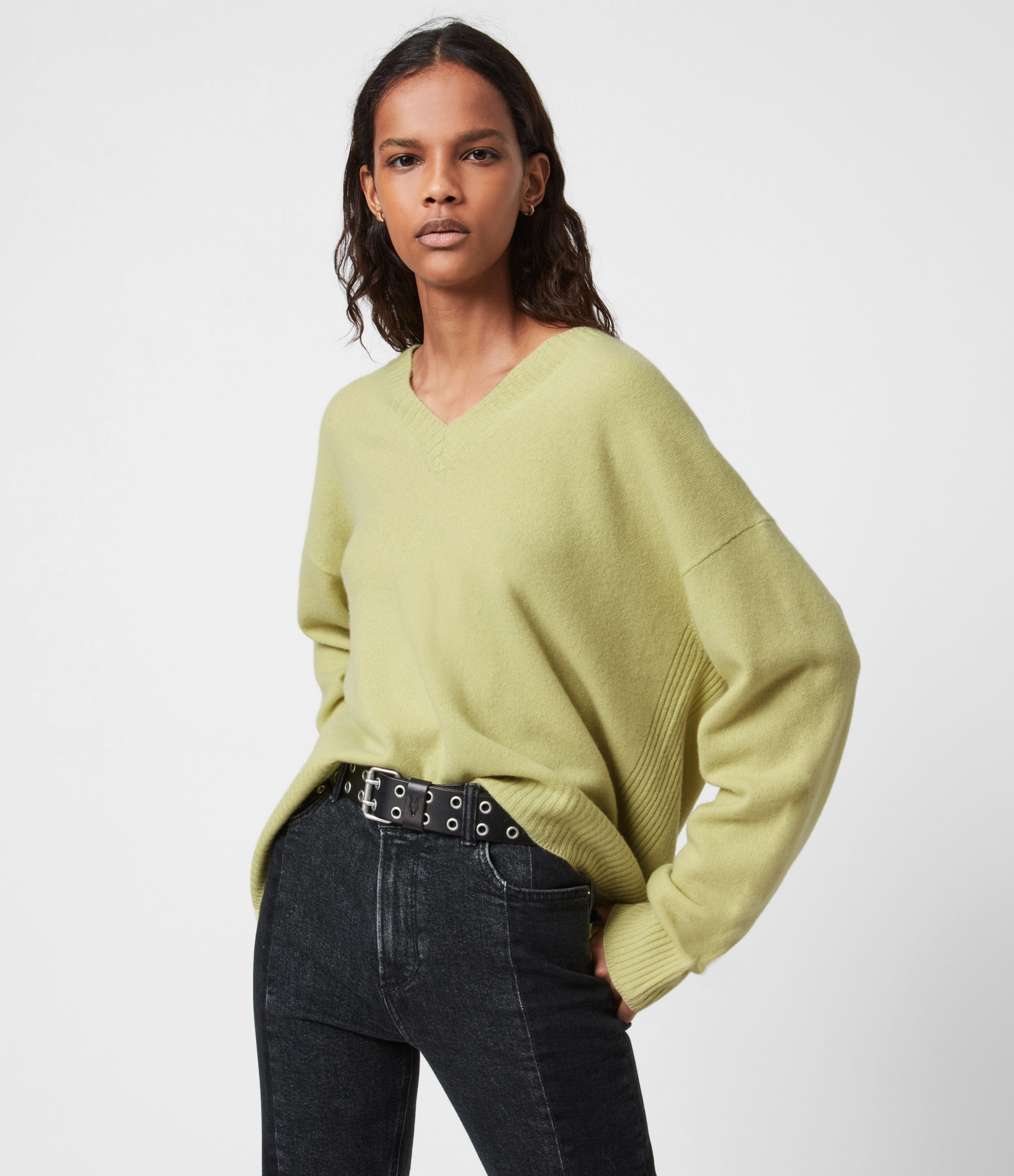 AllSaints Womens Ivana Cashmere-Wool Blend V-Neck Jumper, Citron TEA, Size: M