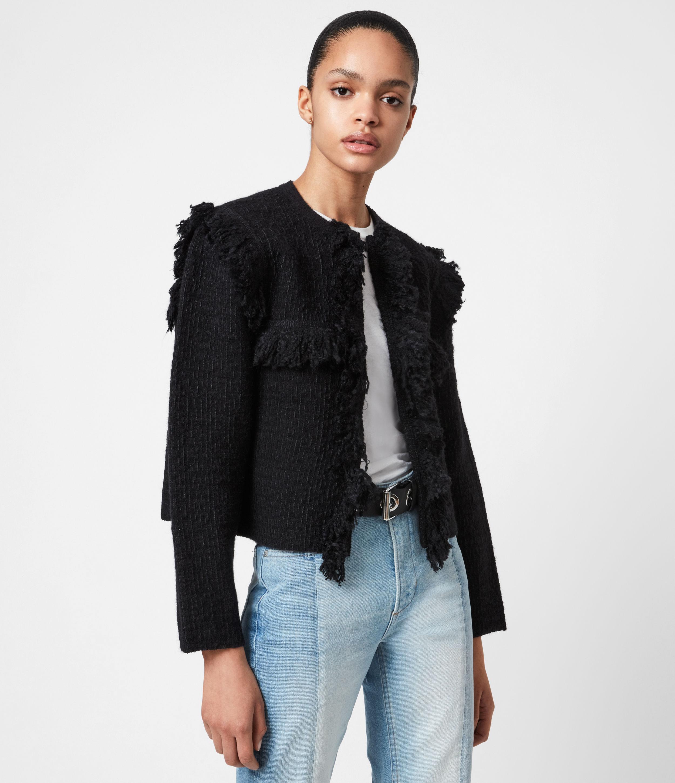 AllSaints Womens Ashley Tassel Jacket, Black, Size: S