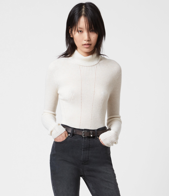 AllSaints Women's Wool Lightweight Seamless Roll Neck Jumper, White, Size: S