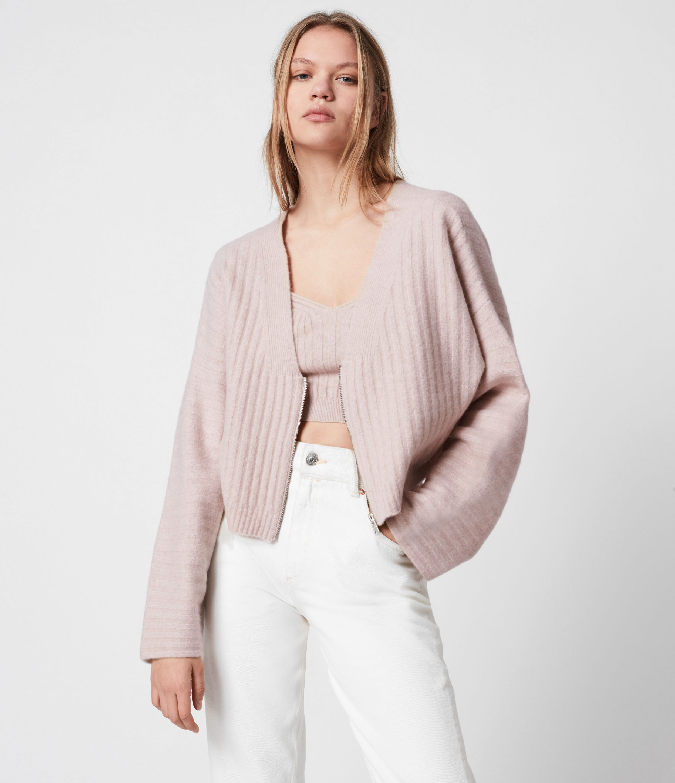 AllSaints Womens Enya Cardigan, Whisper Pink, Size: M