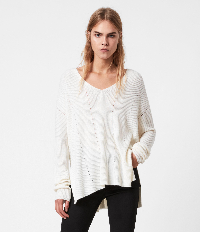 AllSaints Womens Seamless V-Neck Jumper, Chalk White, Size: XS