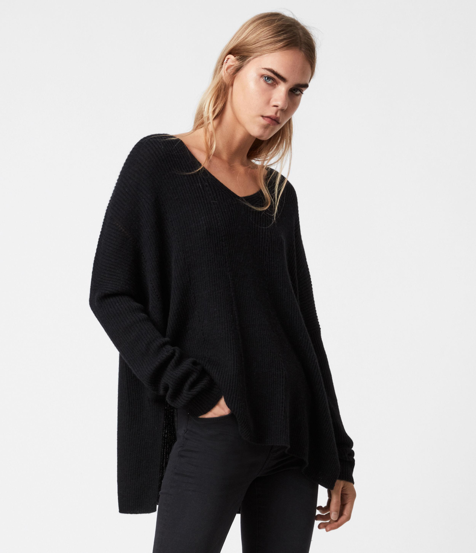 AllSaints Women's Seamless V-Neck Jumper, Black, Size: M