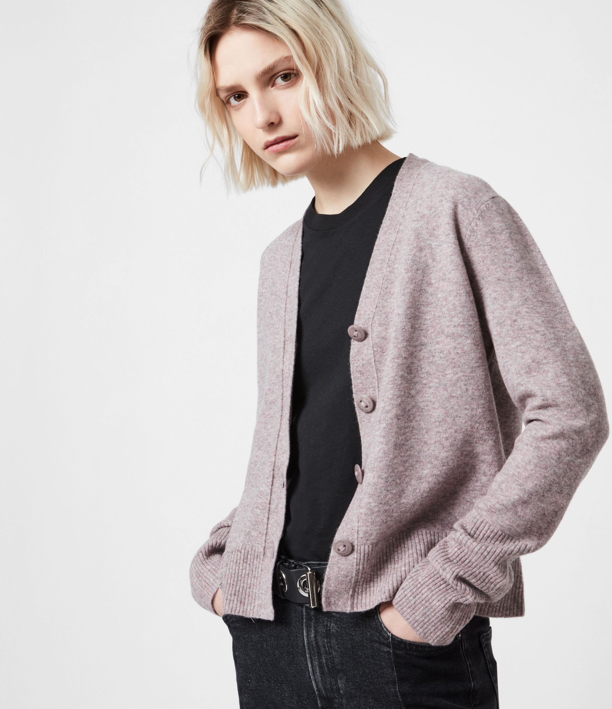 AllSaints Womens Ruffa Neu Cardigan, Washed Lilac, Size: XS