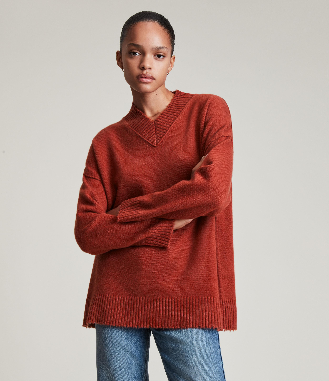 AllSaints Women's Jax Cashmere-Wool Blend Jumper, Soft Rust Brown, Size: S