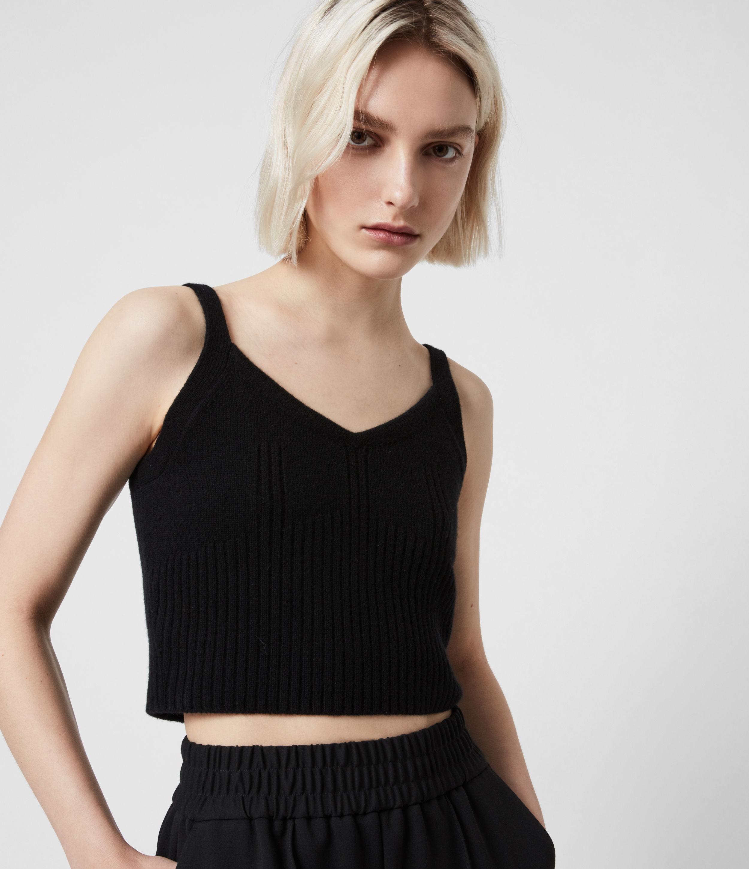 AllSaints Womens Ivana Cashmere Blend Crop Top, Black, Size: L