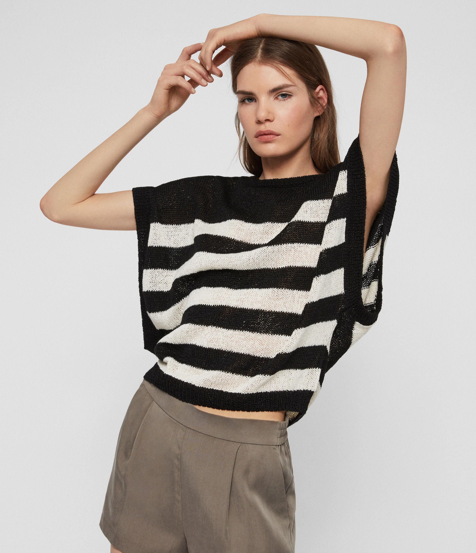 AllSaints Women's Carova Stripe T-Shirt, Antiquewhite/black, Size: S