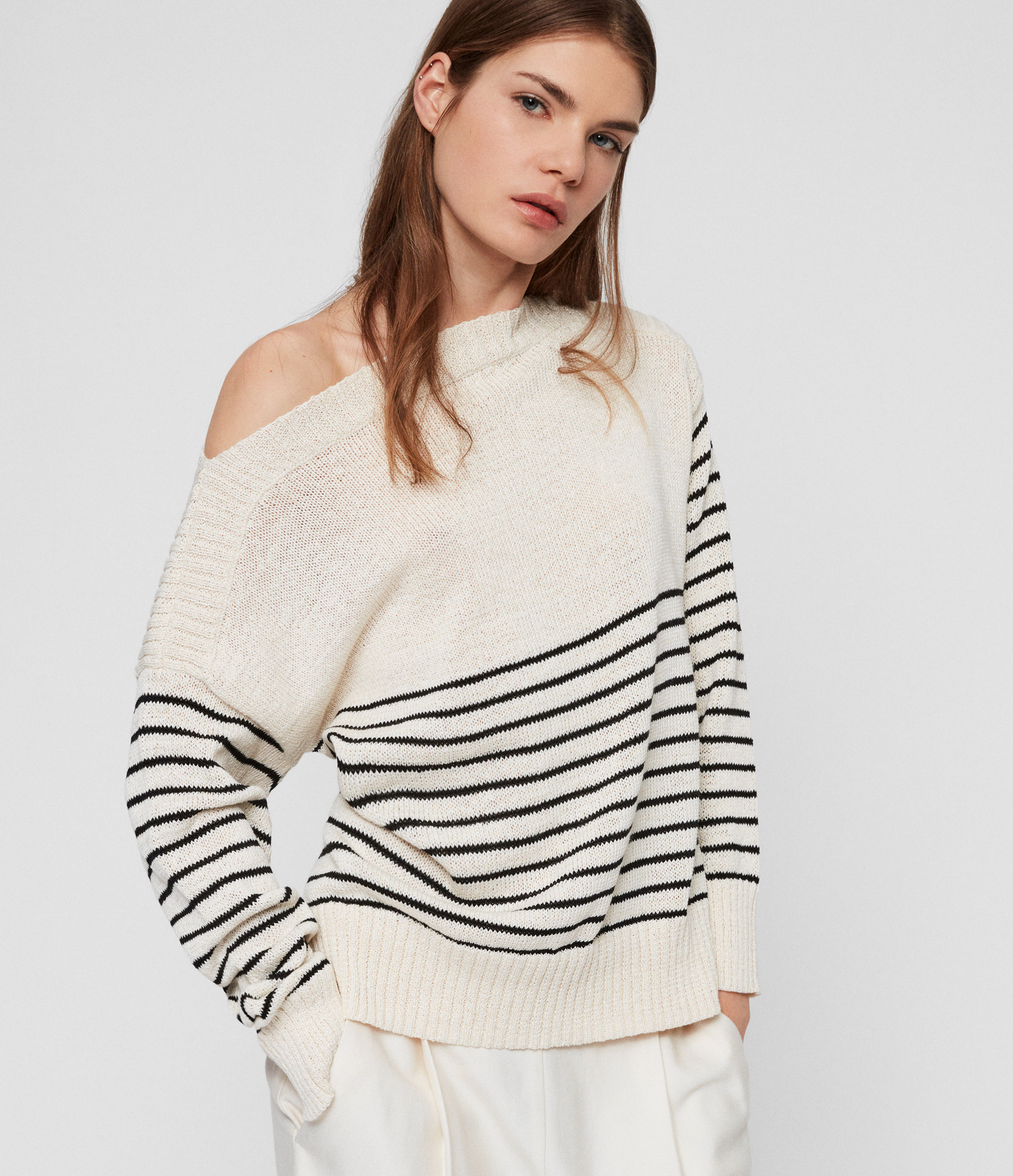 AllSaints Women's Cotton Stripe Lightweight Ives Breton Jumper, White and Black, Size: M