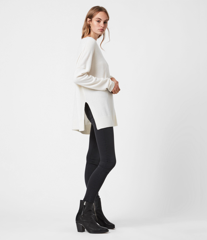AllSaints Women's Tara Pointelle Jumper, Chalk White, Size: S