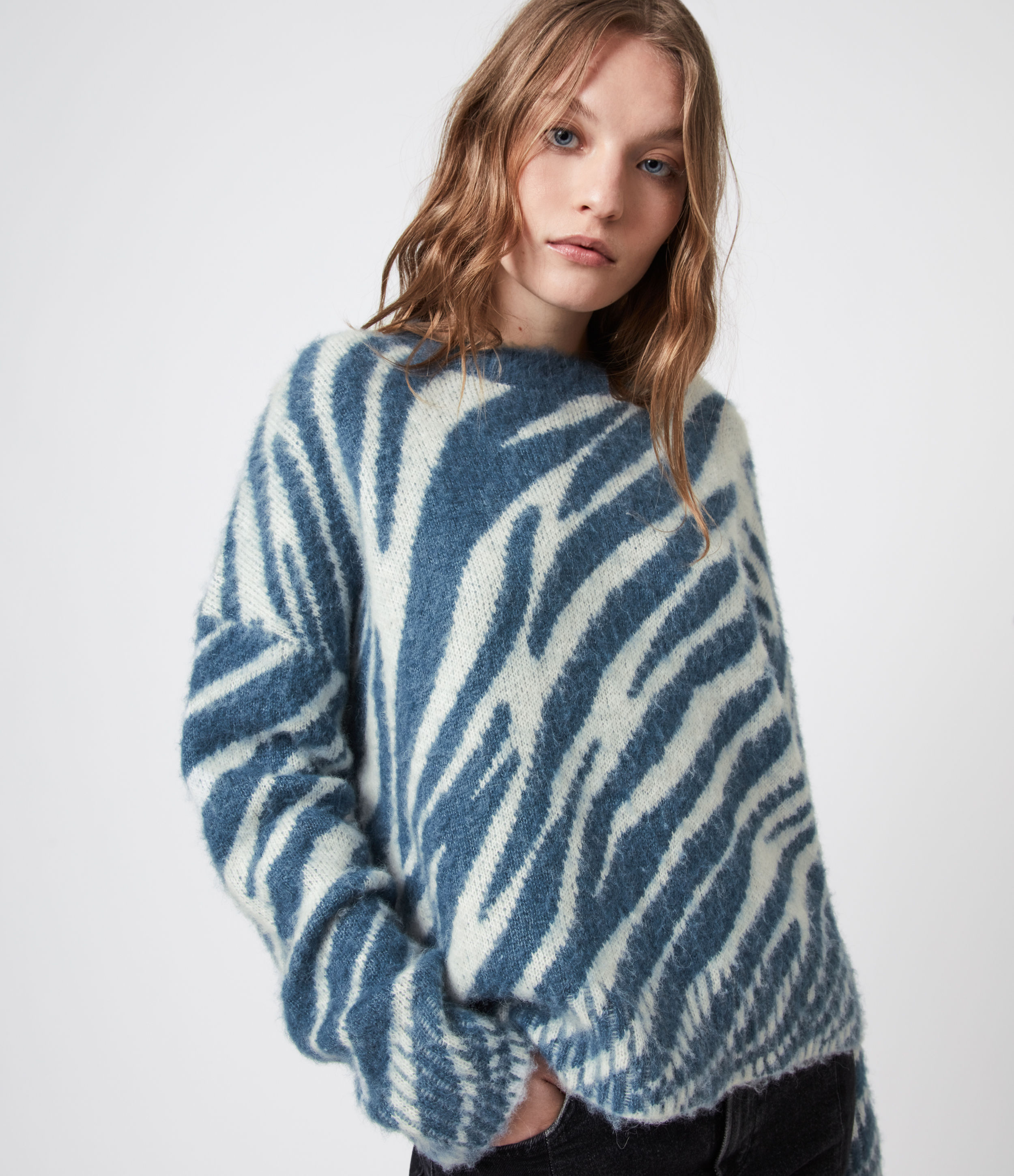 Allsaints Pina Animal Print Sweater In Cream/pale Blue
