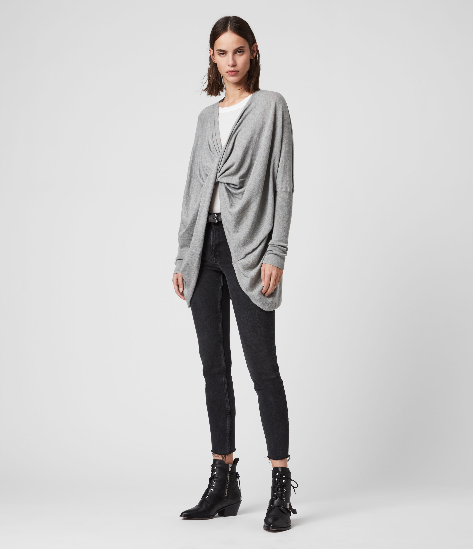 AllSaints Women's Cotton Lightweight Itat Shrug, Grey, Size: S