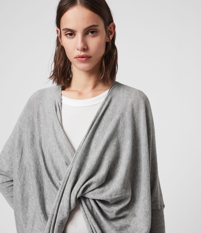 AllSaints Women's Cotton Lightweight Itat Shrug, Grey, Size: L