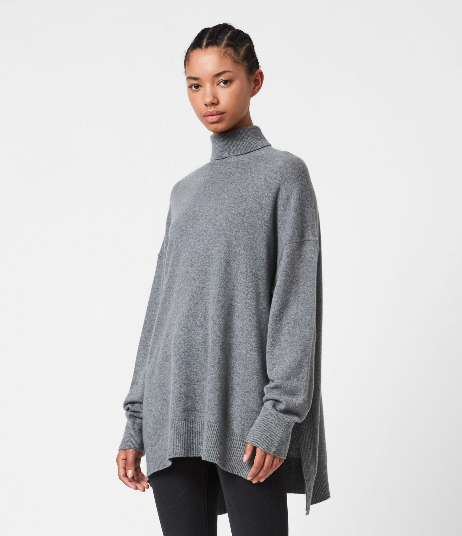 Allsaints Gala Cashmere Turtleneck Sweater In Grey Melange