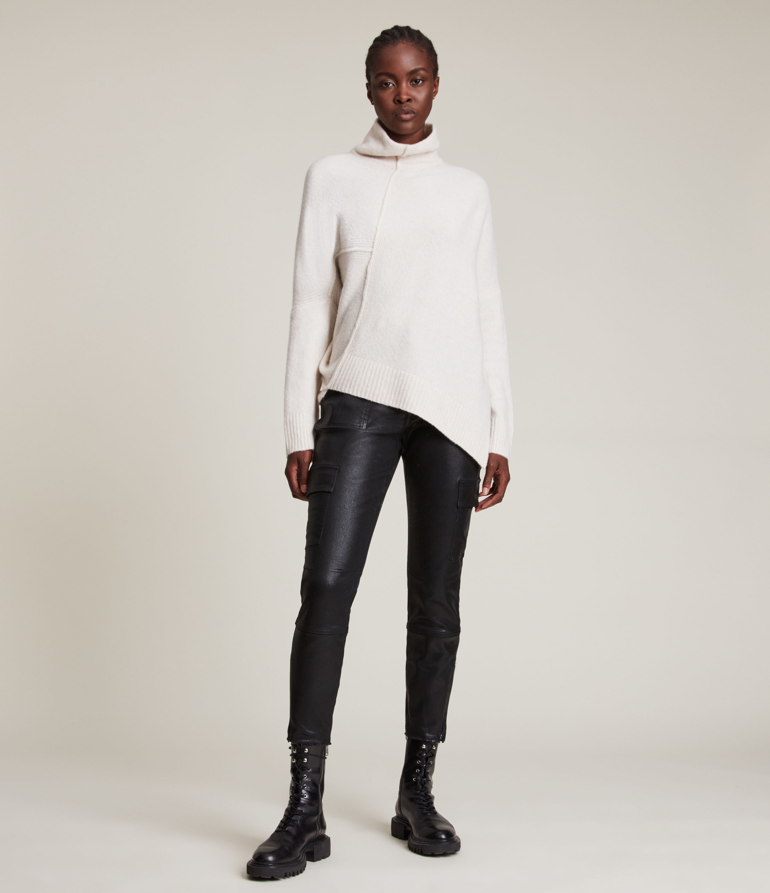 AllSaints Women's Wool Relaxed Fit Lock Roll Neck Jumper, White, Size: L