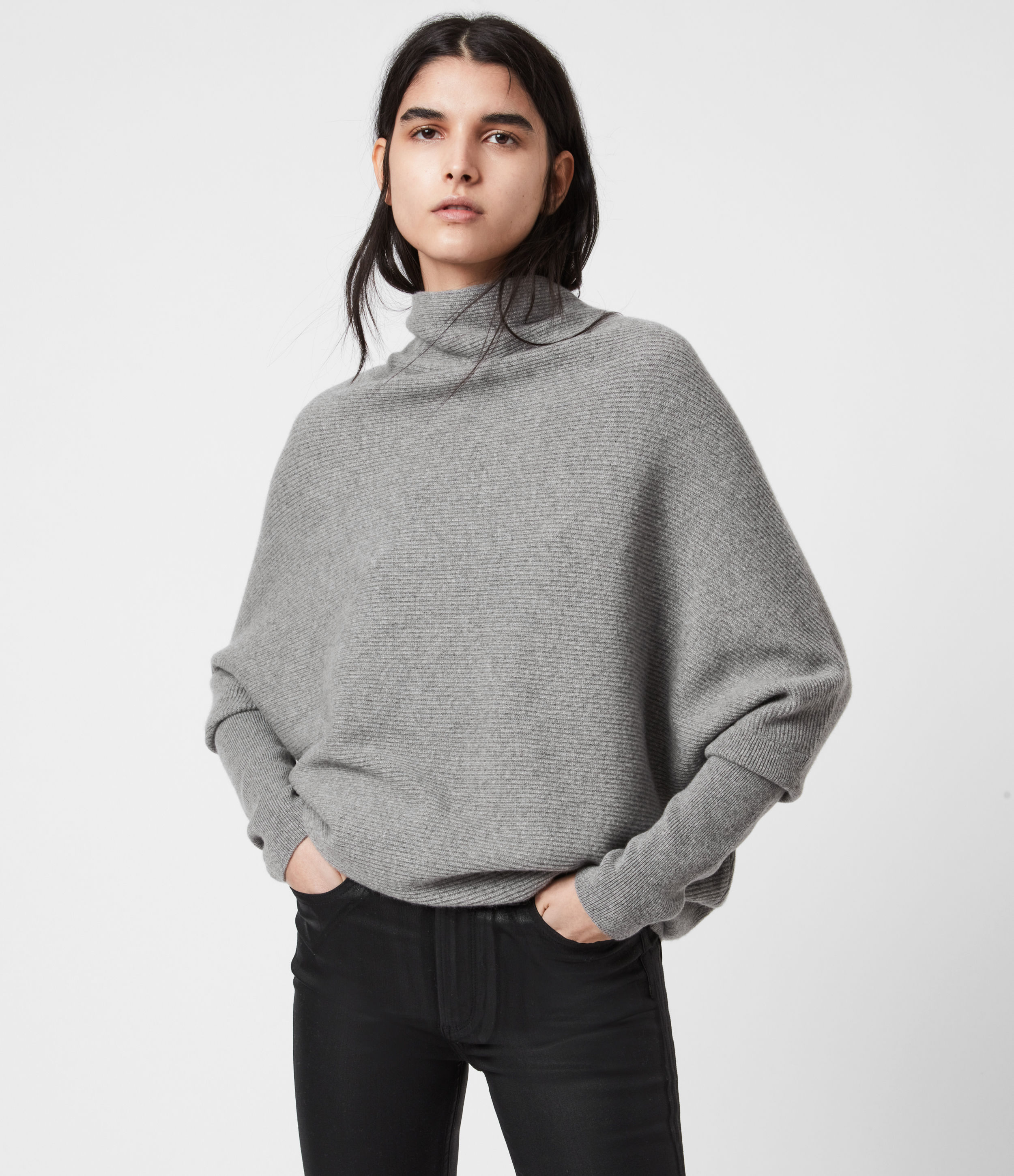 AllSaints Women's Cashmere Relaxed Fit Pullover Funnel Neck Ridley Jumper, Grey, Size: M