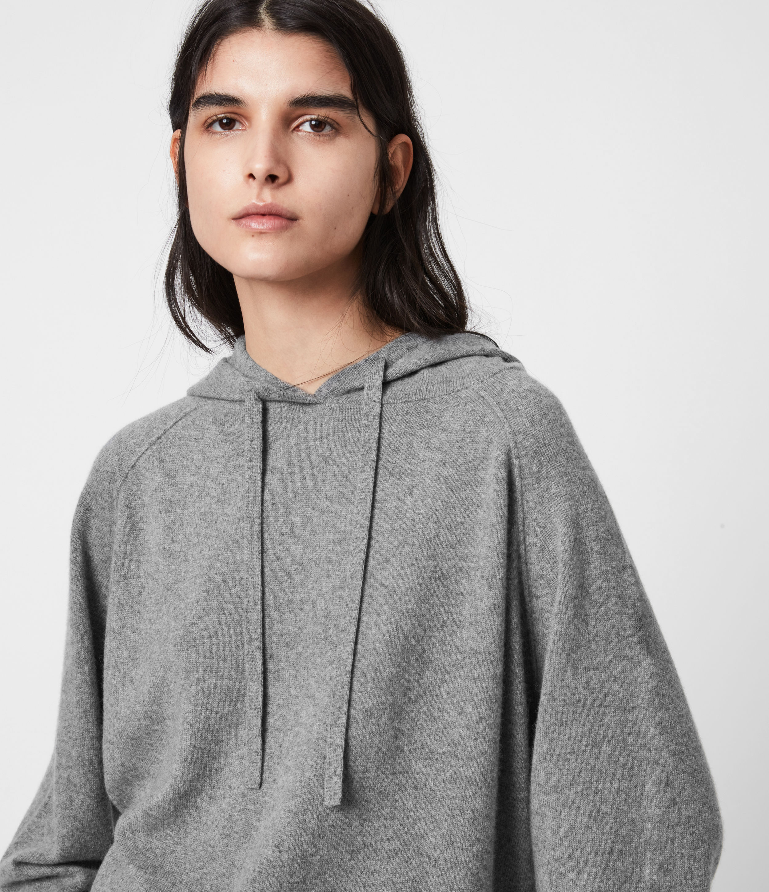AllSaints Womens Olly Cashmere Hoodie, Grey Marl, Size: L