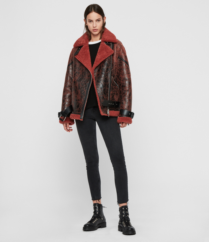 AllSaints Women's Sheepskin Hawley Shearling Biker Jacket, Pink, Size: M