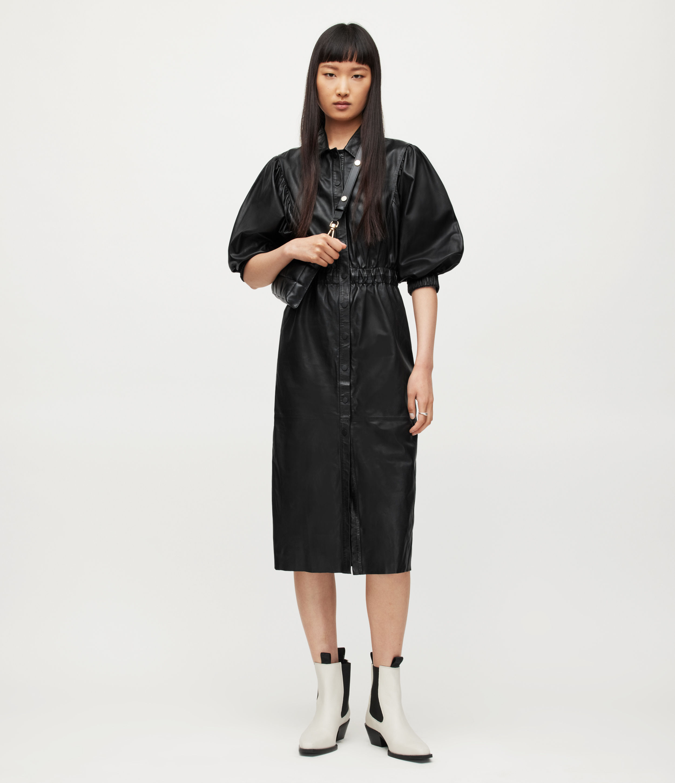 AllSaints Women's Osa Leather Shirt Dress, Black, Size: 8