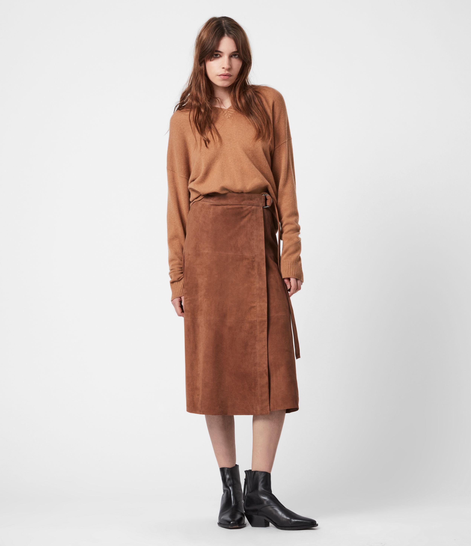 AllSaints Womens Juva Suede Midi Skirt, Tan Brown, Size: 14