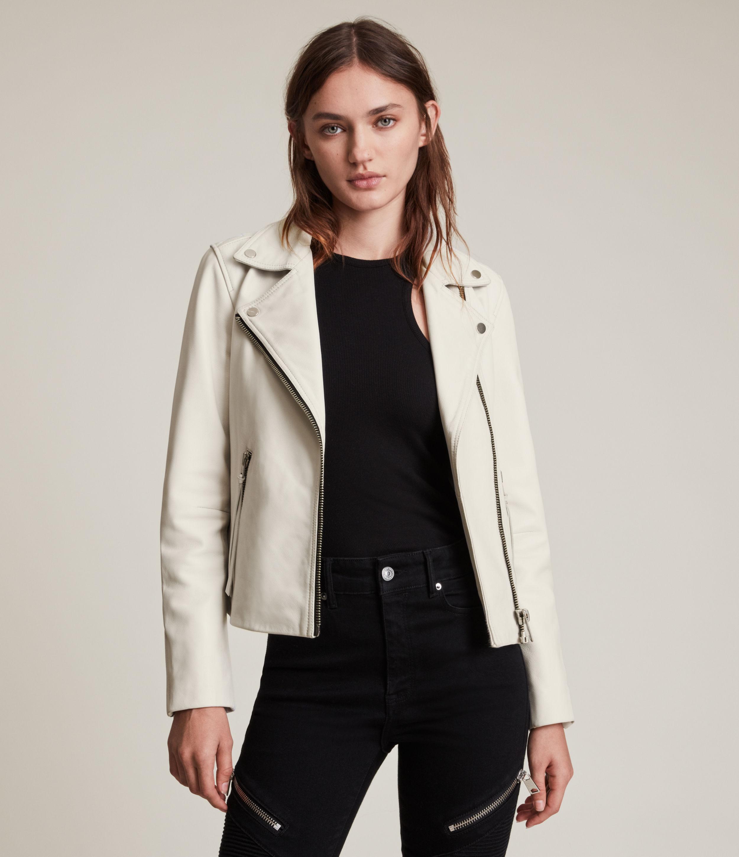 AllSaints Dalby Leather Biker Jacket, White, Womens, Size: 8