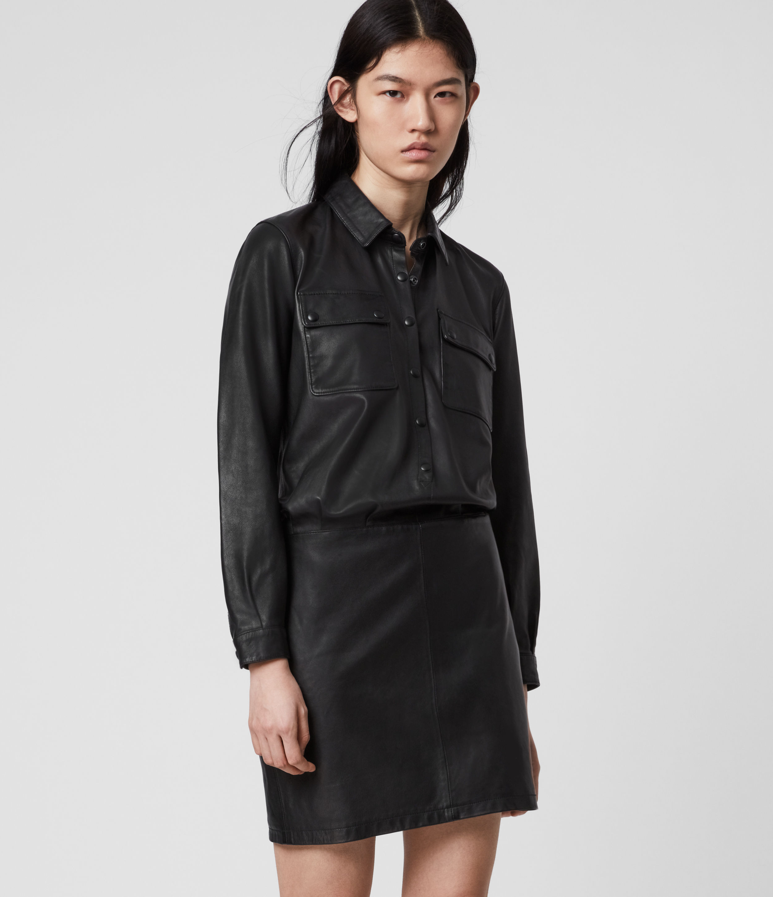 AllSaints Kadi Leather Dress