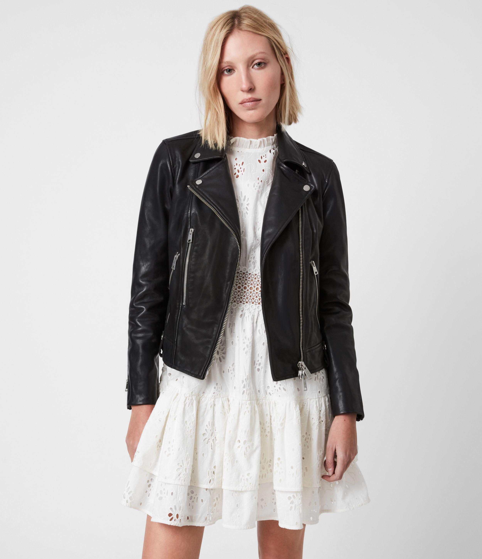 AllSaints Women's Neko Leather Biker Jacket, Black, Size: 8