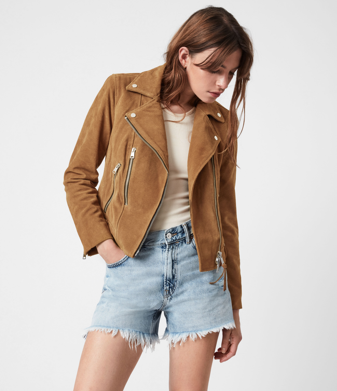 AllSaints Women's Neko Suede Biker Jacket, Tan Brown, Size: 6