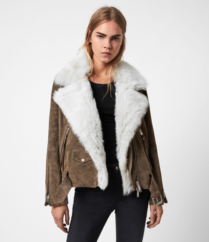 AllSaints Women's Luna 4-In-1 Shearling Biker Jacket, Olive/ecru White, Size: 2