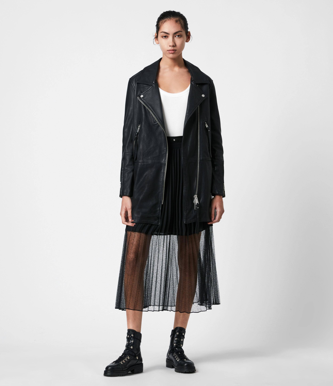 AllSaints Women's Luna Leather Biker Mac, Black, Size: 8