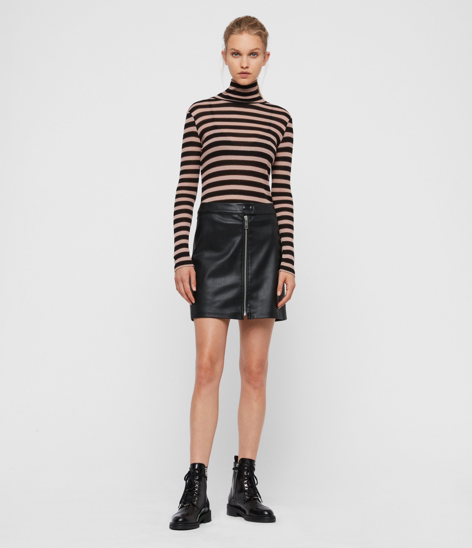 AllSaints Womens Lena Skirt, Black, Size: 14