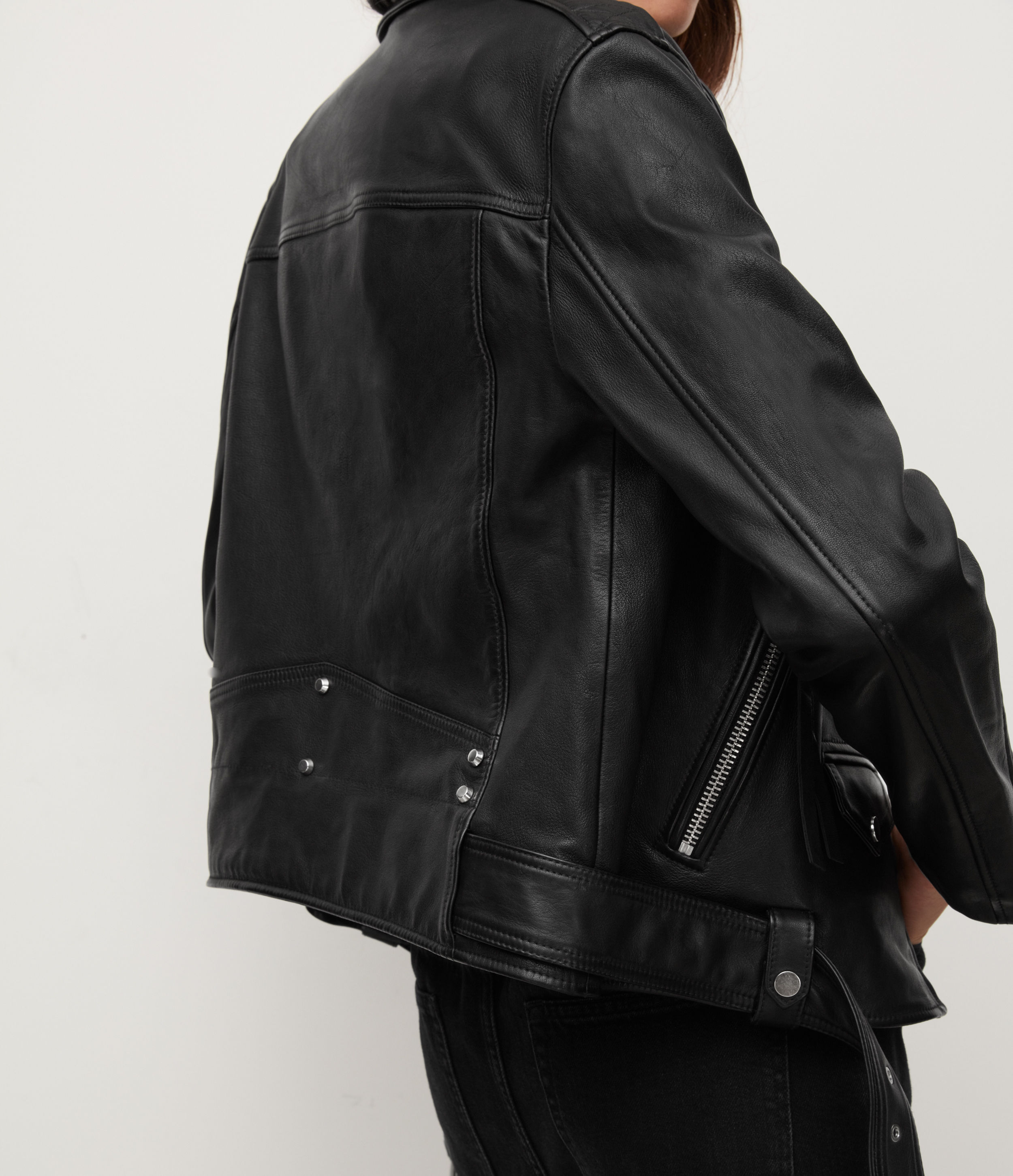 AllSaints Women's Leather Luna Biker Jacket, Black, Size: M