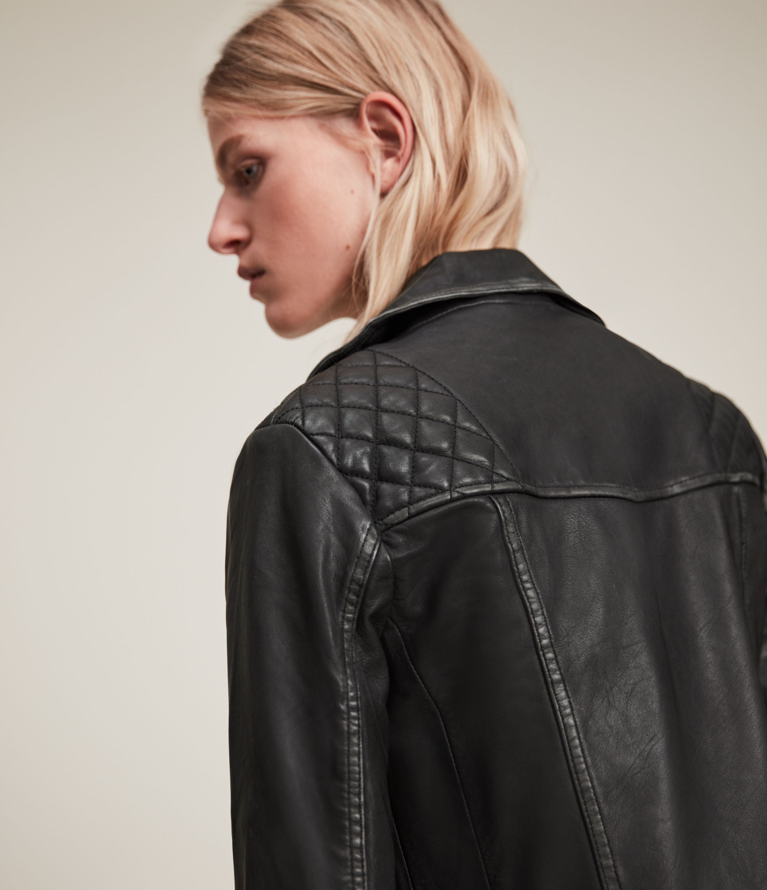 AllSaints Women's Leather Regular Fit Quilted Cargo Biker Jacket, Black and Grey, Size: 2