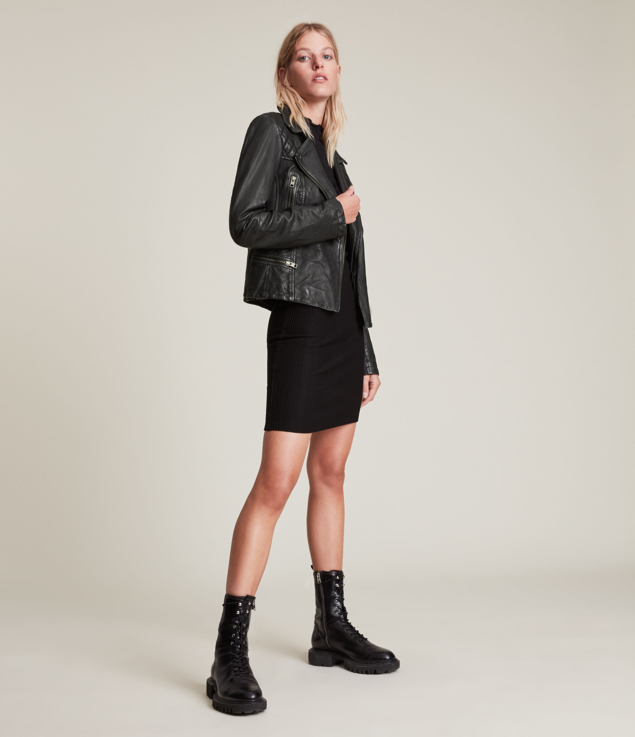 AllSaints Women's Leather Quilted Regular Fit Cargo Biker Jacket, Black and Grey, Size: 12