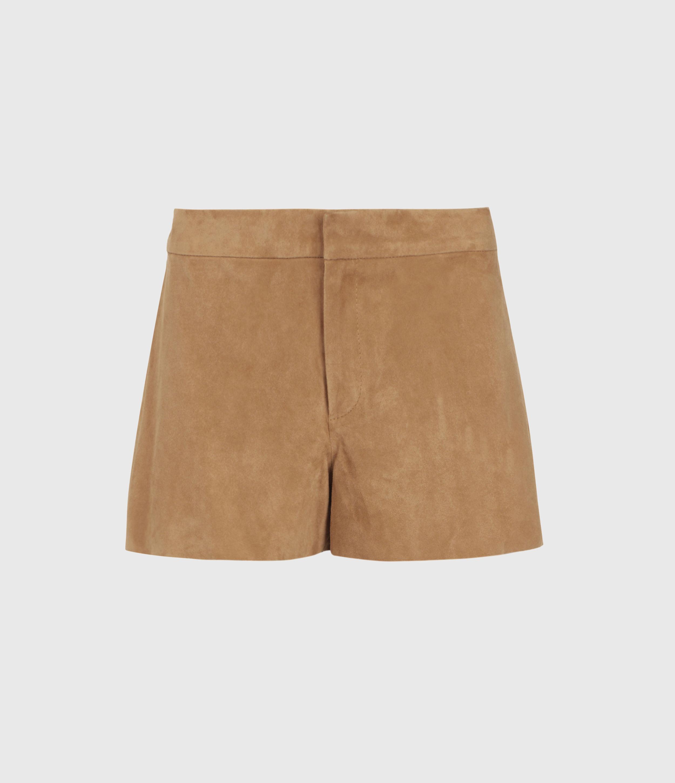 AllSaints Calix Low-Rise Suede Shorts