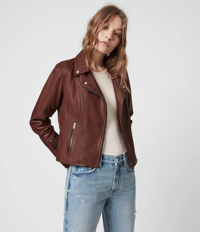AllSaints Women's Neve Leather Biker Jacket, Chestnut, Size: 2