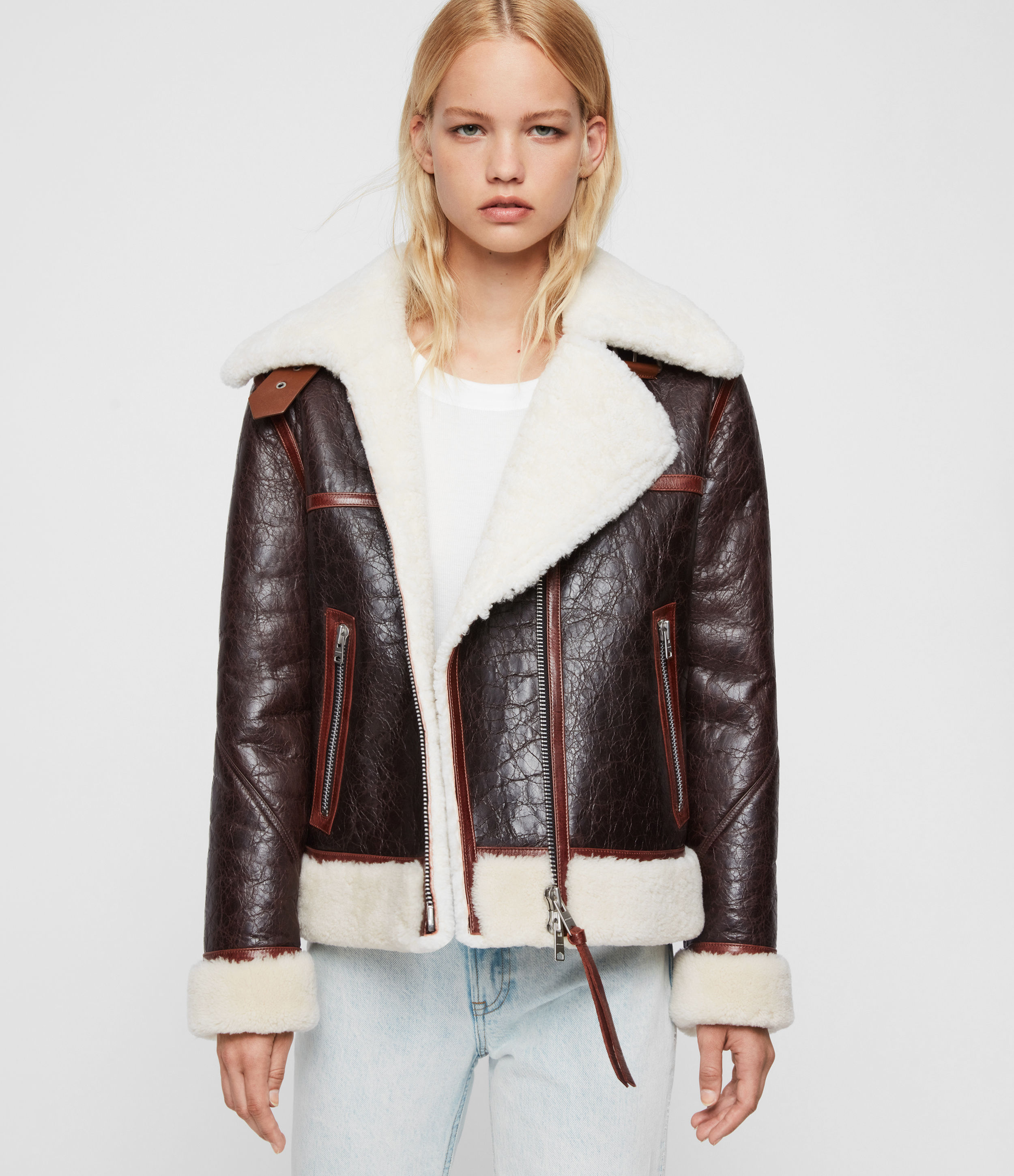 AllSaints Women's Sheepskin Elder Shearling Biker Jacket, Brown and White, Size: S