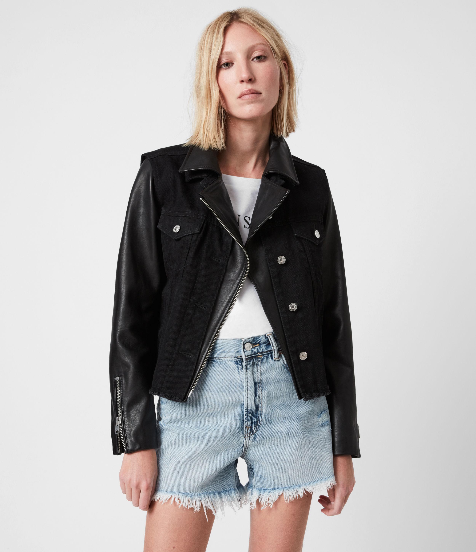 AllSaints Women's Leather Zayn Biker Jacket, Black, Size: 10