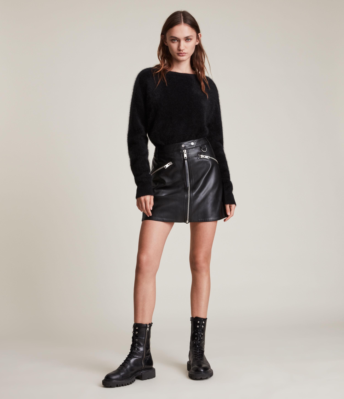 AllSaints Womens Tarren Biker Skirt, Black, Size: 14