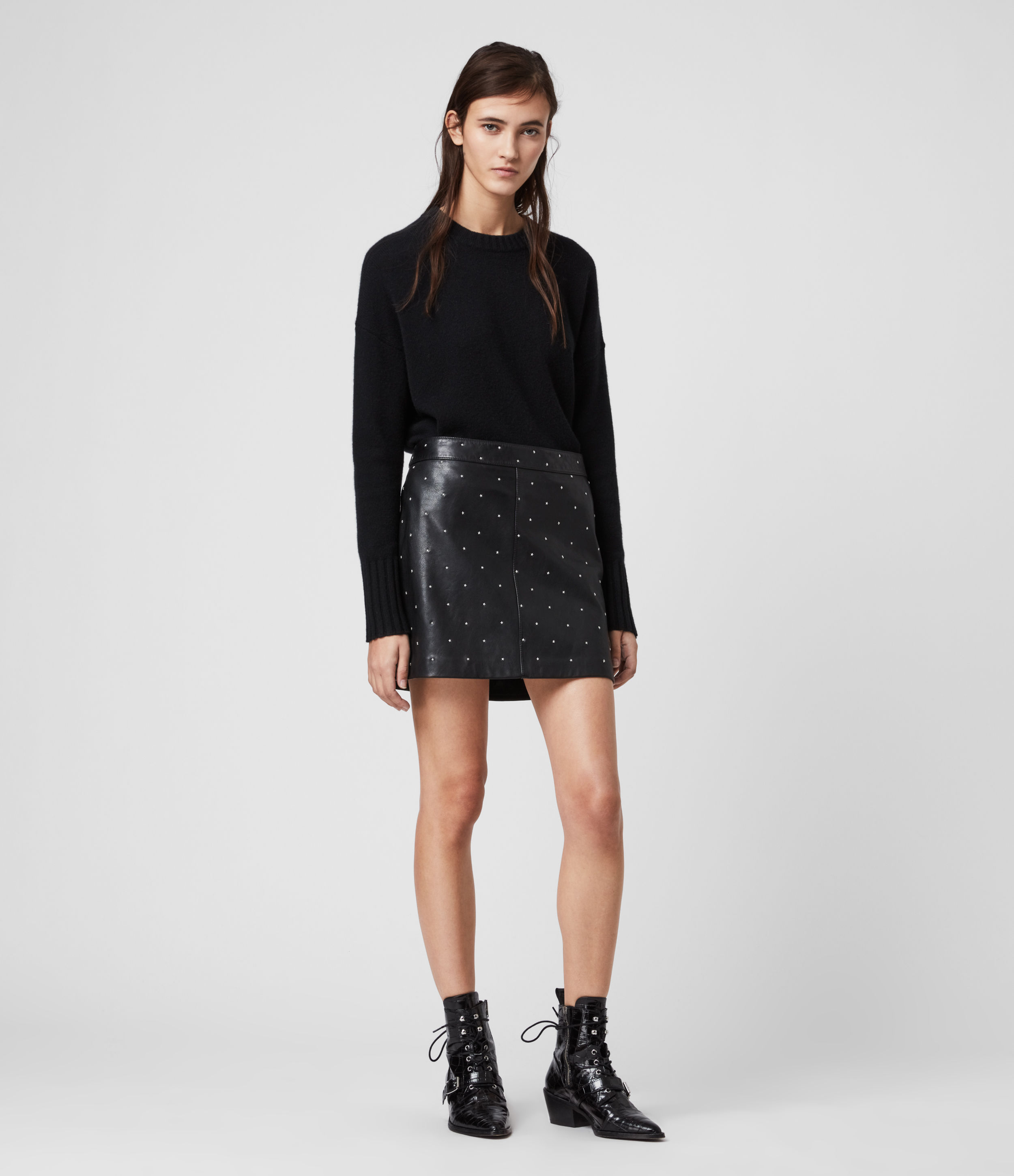 AllSaints Lyra Leather Star Skirt