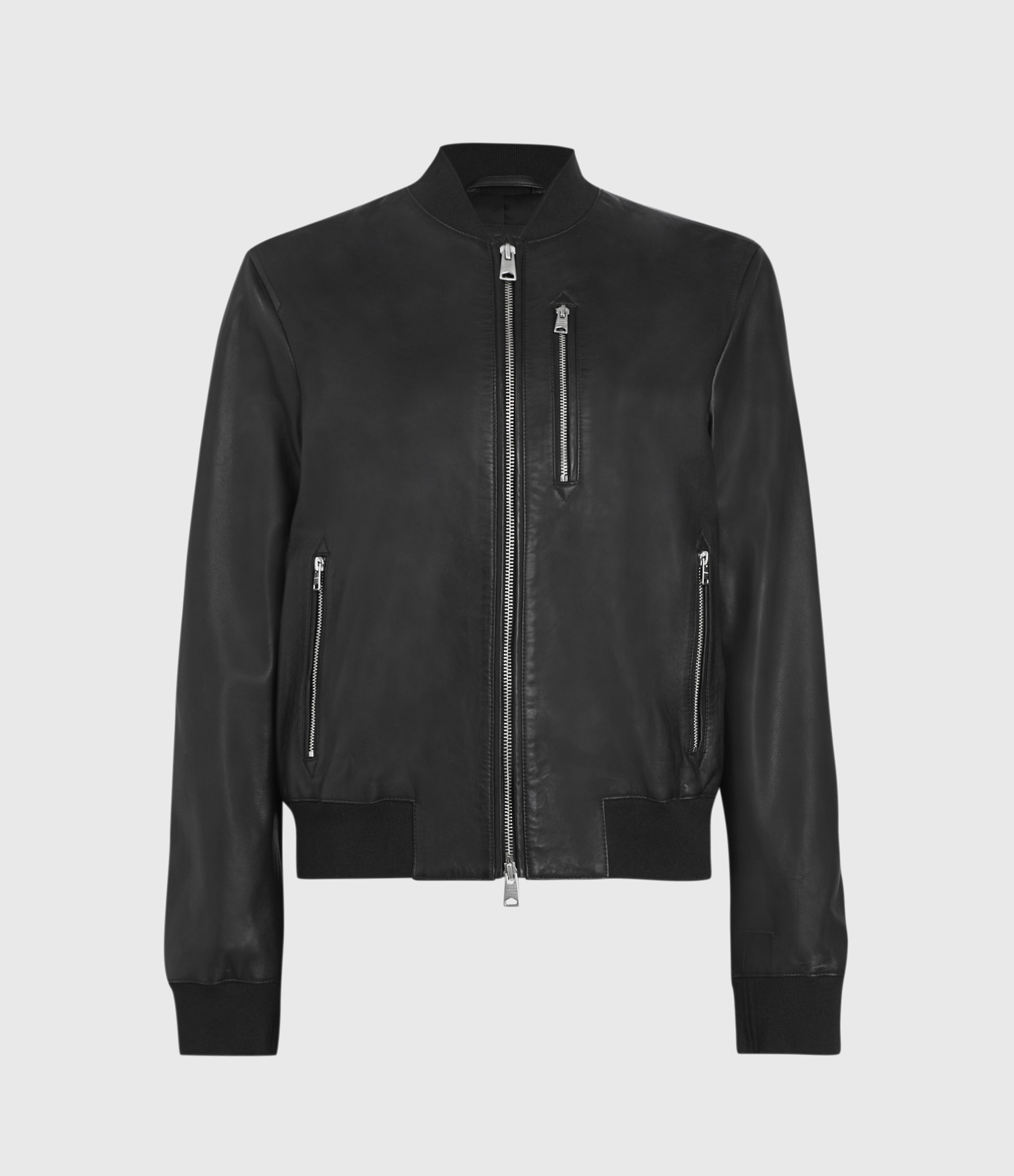 AllSaints Women's Leather Lightweight Remy Bomber Jacket, Black, Size: 4