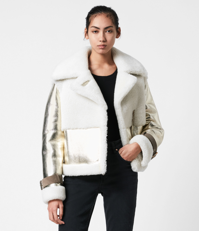AllSaints Farley Metallic Shearling Jacket