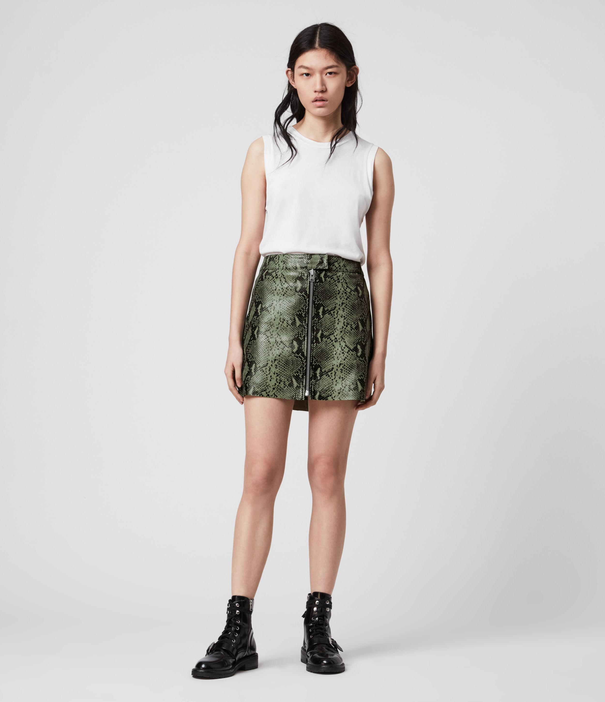 AllSaints Womens Lena Oba Leather Skirt, Green, Size: 10