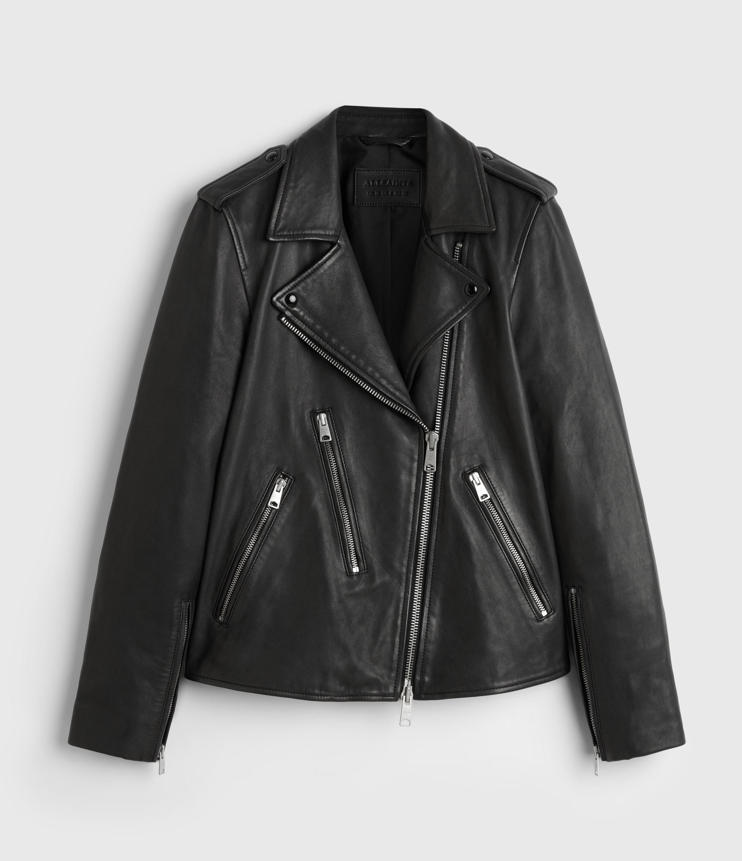AllSaints Womens Elva Leather Biker Jacket, Black, Size: 12
